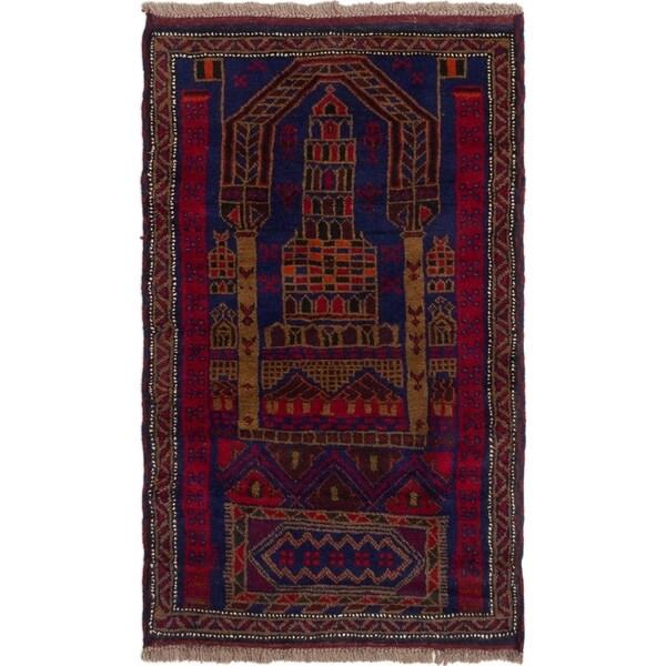 ECARPETGALLERY Hand-knotted Baluch Dark Blue, Red Wool Rug - 2'10 x 4'8