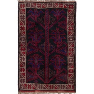 ECARPETGALLERY  Hand-knotted Baluch Black, Red Wool Rug - 3'0 x 4'8
