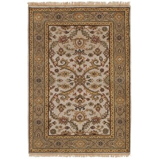 ECARPETGALLERY  Hand-knotted Finest Agra Jaipur Light Grey Wool Rug - 3'11 x 5'10