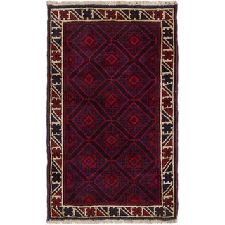 ECARPETGALLERY  Hand-knotted Baluch Red Wool Rug - 2'10 x 4'7