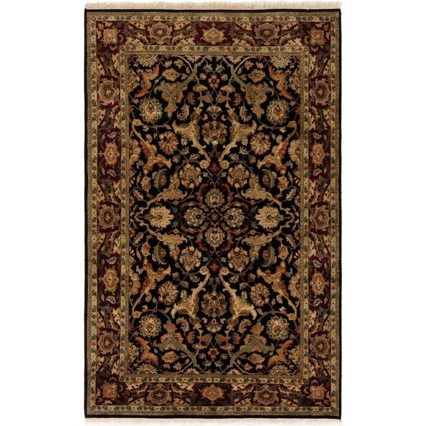 ECARPETGALLERY Hand-knotted Finest Agra Jaipur Black Wool Rug - 5'6 x 8'8