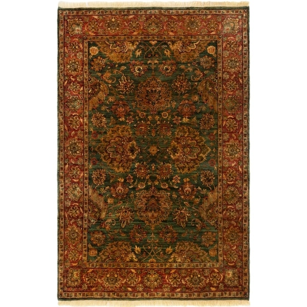 ECARPETGALLERY Hand-knotted Sultanabad Teal Wool Rug - 5'6 x 8'5
