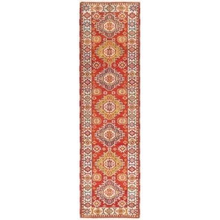 ECARPETGALLERY  Hand-knotted Royal Kazak Red Wool Rug - 2'9 x 10'1