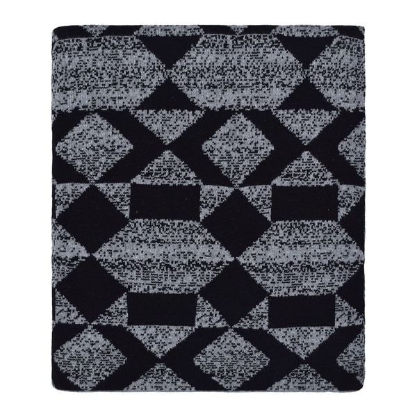 Daza - Shapes multi - Dk grey mel/black - Cotton throw blanket. Opens flyout.