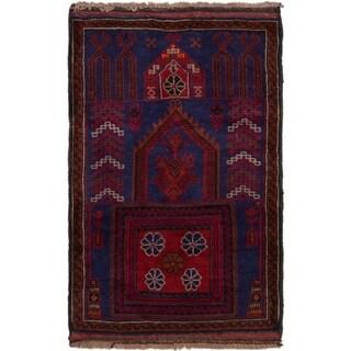 ECARPETGALLERY  Hand-knotted Baluch Dark Navy Wool Rug - 3'0 x 4'9
