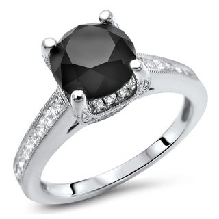 2 1 2ct Black Round Cut Diamond Engagement Ring 18k White Gold