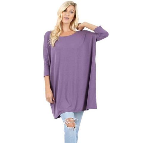 JED Women's Soft Feel Dolman Sleeve Tunic Top
