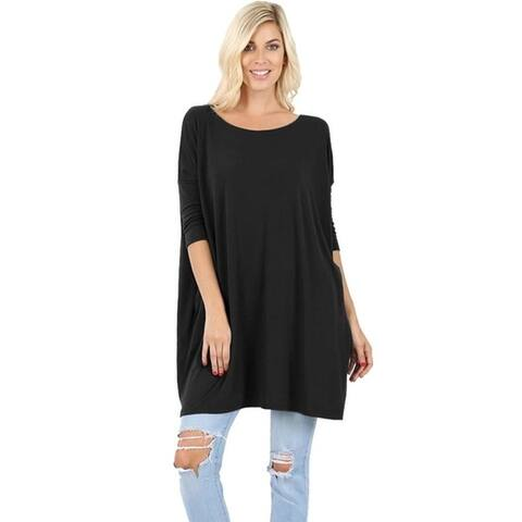 JED Women's Soft Feel Dolman Sleeve Tunic Top