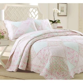 Link to Cozy Line Rosa Floral Patchwork Reversible Cotton Quilt Set Similar Items in Quilts & Coverlets