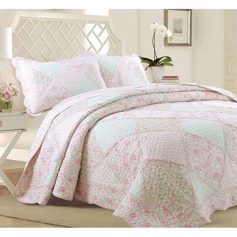 Cozy Line Rosa Floral Patchwork Reversible Cotton Quilt Set