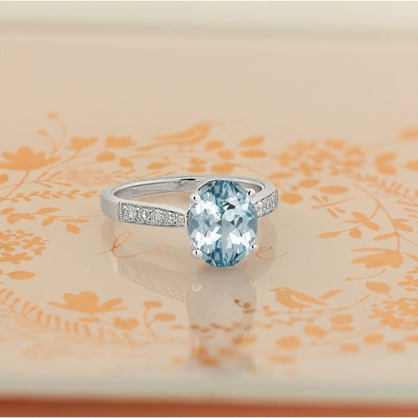 Shop Auriya 1 3/4ct Fancy Oval Aquamarine And Diamond