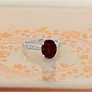 Auriya 3 1 3ct Fancy Oval Garnet And Diamond Engagement Ring 1 4ctw 14k Gold