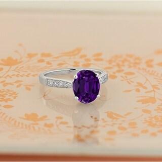 Auriya 1 3 4ct Fancy Oval Purple Amethyst And Diamond Engagement Ring 1 4ctw 14k Gold