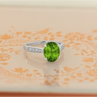 14k Gold Fancy Oval-Cut 3 1/3ct Peridot and 1/4ct TDW Diamond Engagement Ring by Auriya