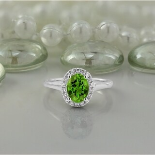 14k Gold Fancy Oval-Cut 1ct Peridot and 1/8ct TDW Diamond Halo Engagement Ring by Auriya