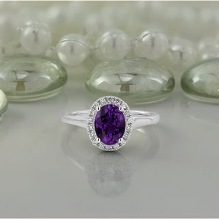 14K Gold 1ct Fancy Oval Purple Amethyst and 1/8ct TDW Diamond Halo Engagement Ring by Auriya