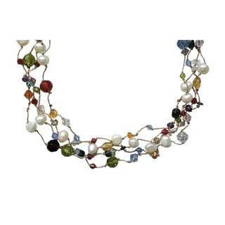 Four Strands of Pearls and Crystals Necklace - 18 OR 24 inches