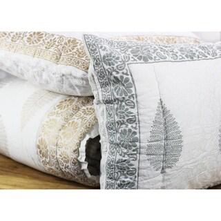 Cotton Veil Collection Hand blocked Leaf Quilt Set