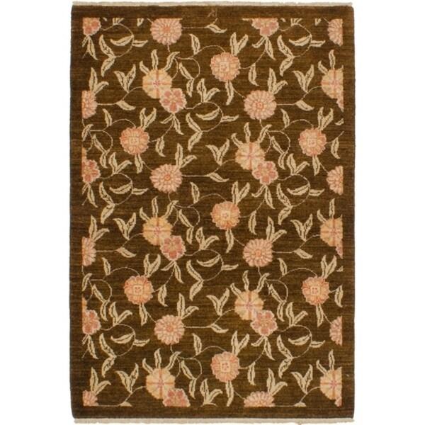 ECARPETGALLERY Hand-knotted Chobi Finest Dark Brown Wool Rug - 3'5 x 4'10