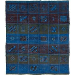 ECARPETGALLERY  Hand-knotted Vibrance Dark Blue Wool Rug - 8'4 x 9'7
