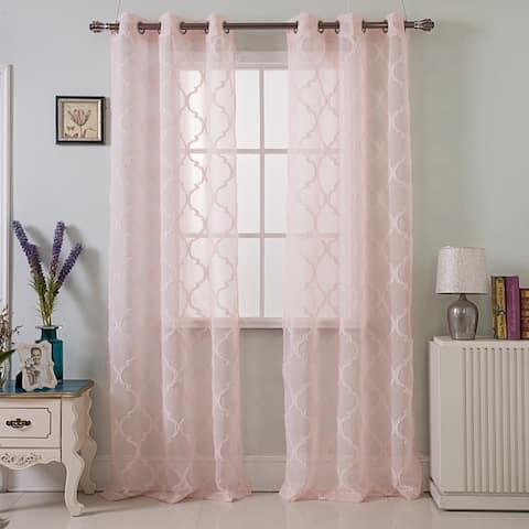 RT Designers Crawford Quatrefoil 84 Inch Grommet Curtain Panel Pair