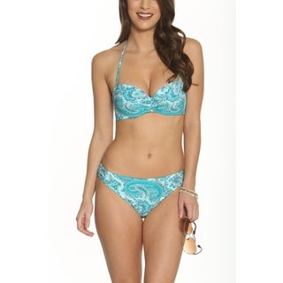 Betty's Beach Bungalow Cinched Middle Fabric Detail Bandeau Top with Brief - Set