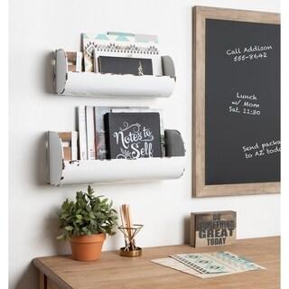 Kate and Laurel Pothos White Metal Farmhouse 2-piece Wall Pocket Bin Set