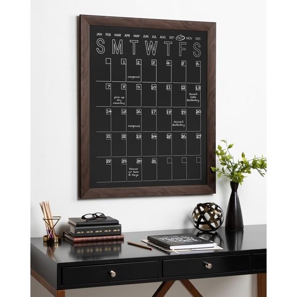 DesignOvation Beatrice Framed Vertical Magnetic Chalkboard Calendar - 27x33