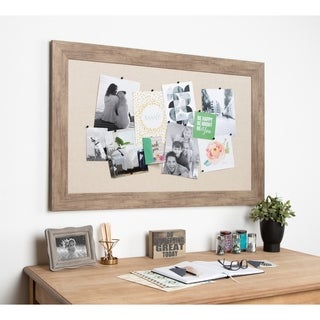 DesignOvation Beatrice Decorative Framed Linen Fabric Pinboard - 29.5x45.5