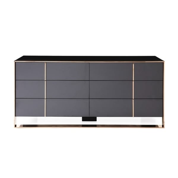 . Shop Nova Domus Cartier Modern Black   Rosegold Dresser   Free