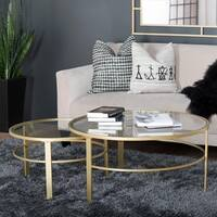 Silver Orchid Berle Round Goldtone Nesting Coffee Table Set