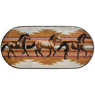 """Cozy Cabin Gallop Rubber Back Accent Rug 20""""x44"""" Oval - 1'8"""" x 3'8"""""""