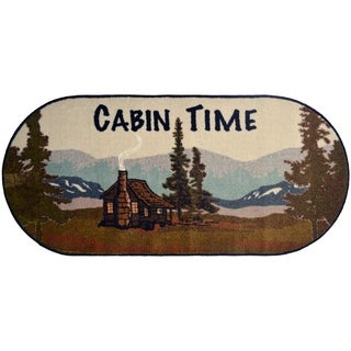 """Cozy Cabin Cabin Time Rubber Back Accent Rug 20""""x44"""" Oval - 1'8"""" x 3'8"""""""