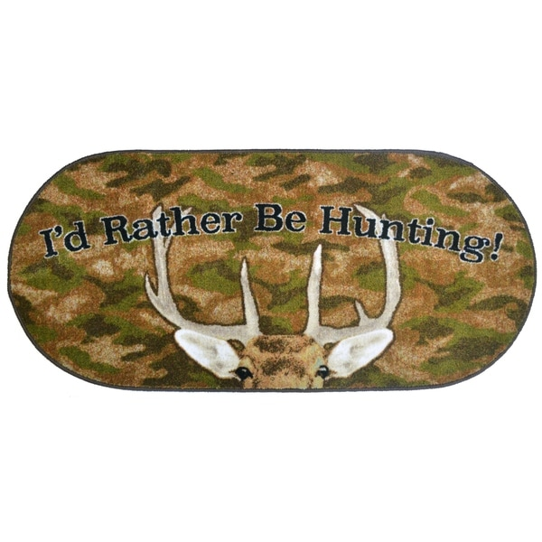 """Cozy Cabin Rather Be Hunting Rubber Back Accent Rug 20""""x44"""" Oval - 1'8"""" x 3'8"""""""