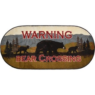 """Cozy Cabin Bear Crossing Rubber Back Accent Rug 20""""x44"""" Oval - 1'8"""" x 3'8"""""""