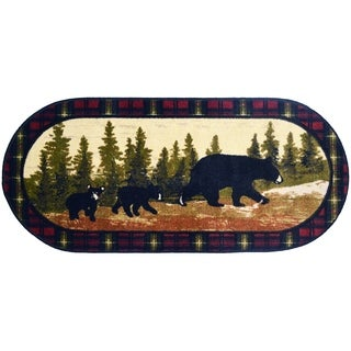 """Cozy Cabin Following Mama Rubber Back Accent Rug 20""""x44"""" Oval"""