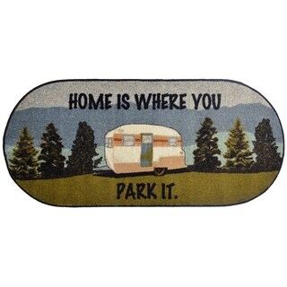 "Cozy Cabin Home Is Where You Park It Accent Rug 20""x44"" Oval"