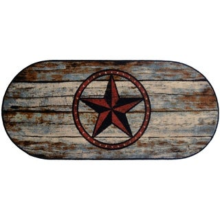 """Cozy Cabin Barn Star Rubber Back Accent Rug 20""""x44"""" Oval - 1'8"""" x 3'8"""""""