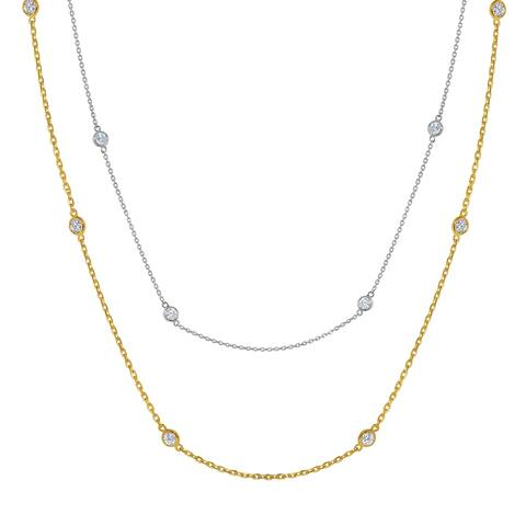14k Gold Cubic Zirconia Station Necklace (17 inch or 36 inch)