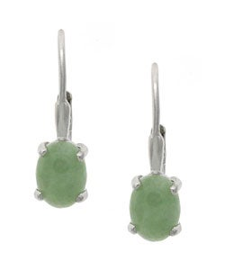 Glitzy Rocks Sterling Silver Oval Jade Leverback Earrings
