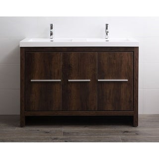 Legion Furniture White/Oak-finish Resin/Wood Bathroom Vanity