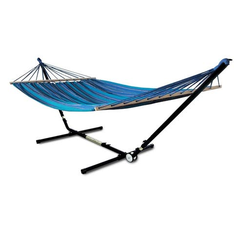 Hammaka Adjust To Fit Stand with Woven Hammock With Spreader Bar Combo