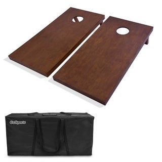 GoSports Regulation Size Wooden Cornhole Set with Brown Finish