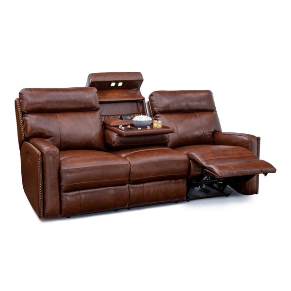 Shop Seatcraft Lombardo Home Theater Seating Leather Sofa Power
