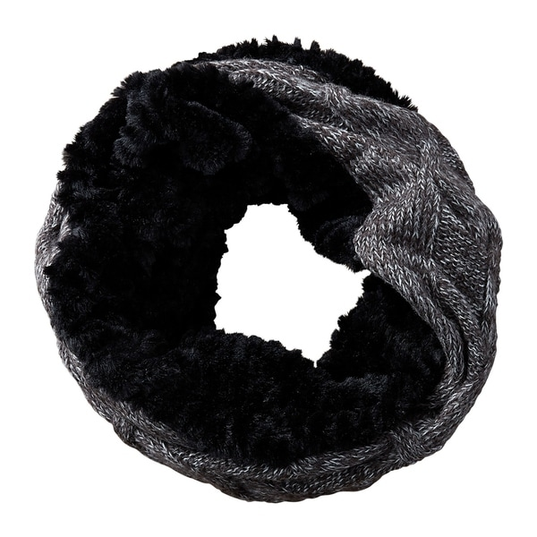 Tickled Pink Faux Fur Knit Cowl Scarf. Opens flyout.