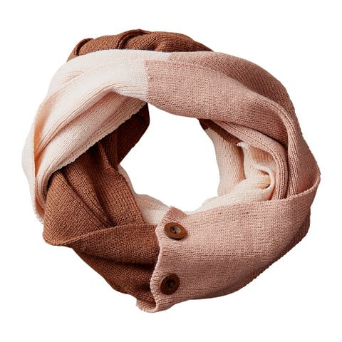 Tickled Pink Katie Colorblock Button Infinity Scarf