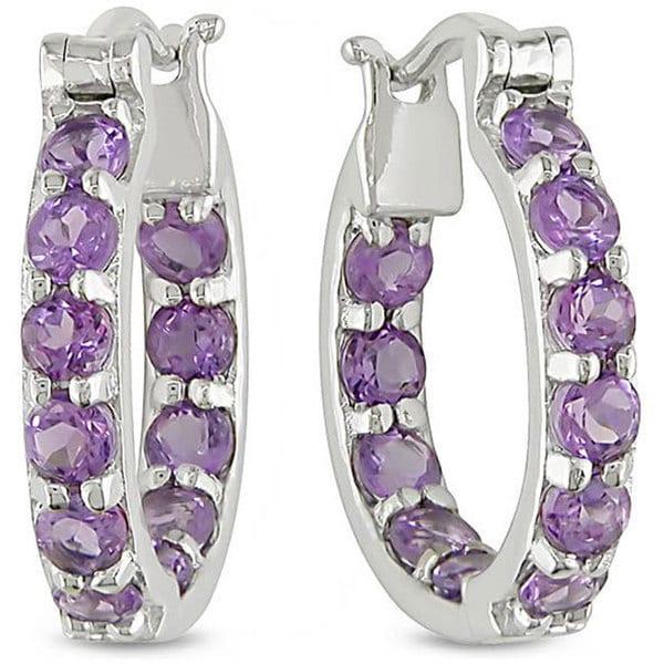 Miadora Sterling Silver Amethyst Hoop Earrings