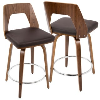 LumiSource Trilogy Mid-Century Modern Counter Stool (Set of 2)