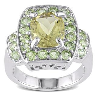 Sterling Silver Lemon Quartz and Peridot Ring
