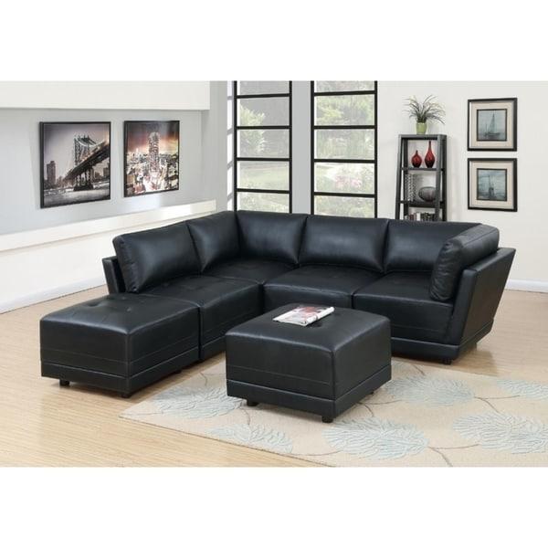 Cottage Bonded Leather Modular 6-PSC Sectional Sofa Set I